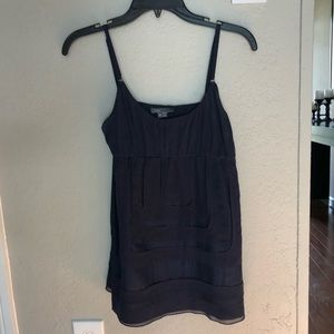 Vince navy blue square front silk tank w/ pockets